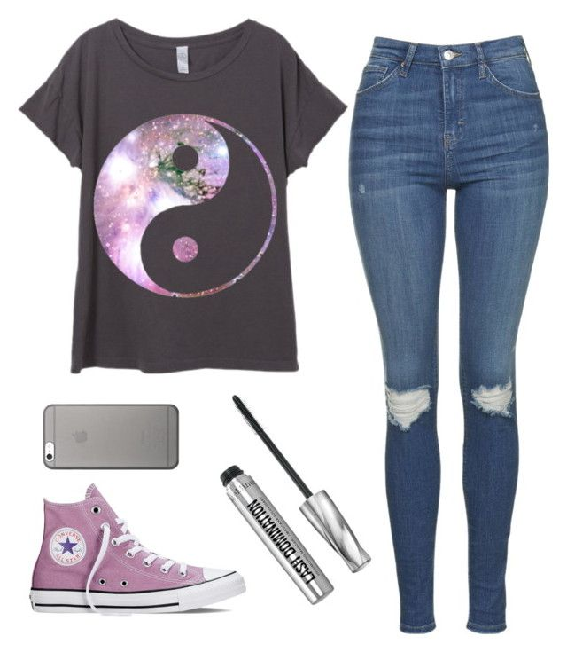 """""""Outfit for school"""" by avasarchet on Polyvore featuring Topshop, Converse, Native Union and Bare Escentuals"""