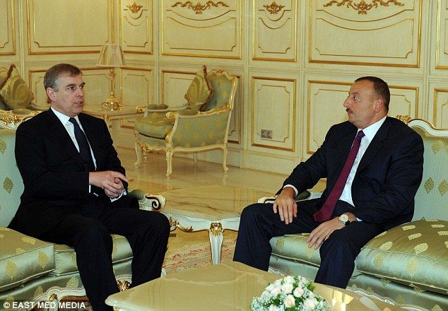 11/13/14.  Close ties: Prince Andrew and Azerbaijan president Ilham Aliyev during one of their meetin...