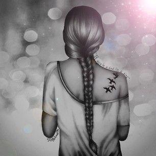 Long Hair Girl and Tatoo, illustration, drawing / Illustrazione, disegno di Ragazza con i capelli lunghi e tatuaggio - by Kristina Webb Art
