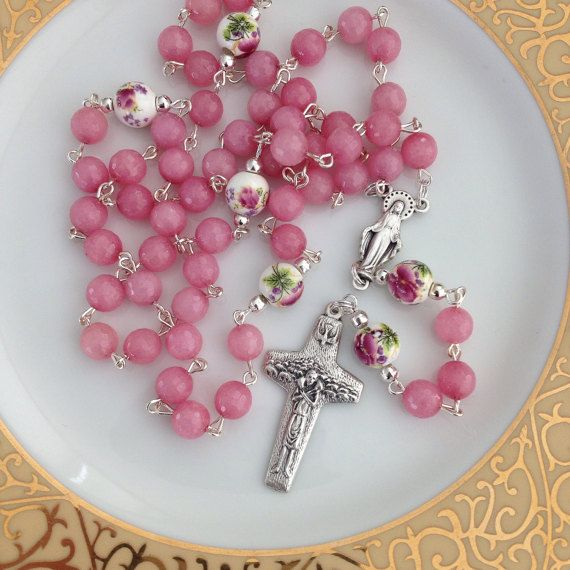 Pink Rosary First Communion Rosary by AwfyBrawJewellery on Etsy