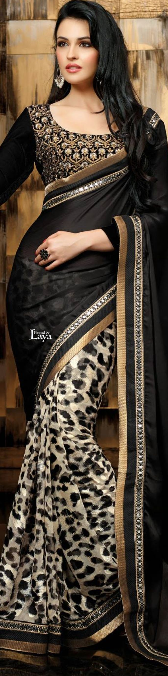 Cream and Black Satin Saree