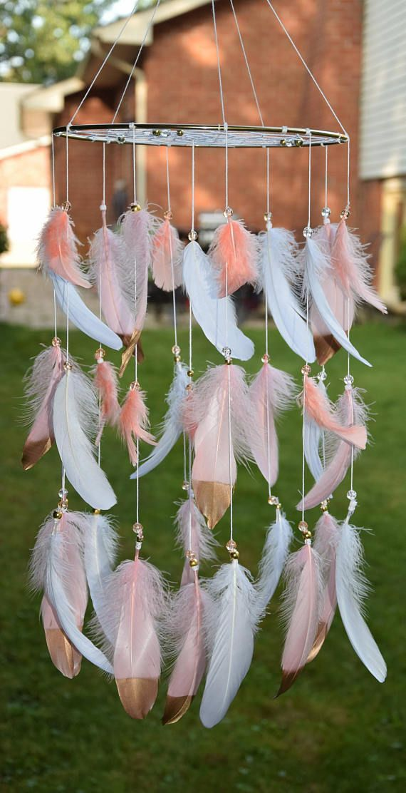 Coral Pink Baby Mobile Boho Baby Mobile Dream Catcher