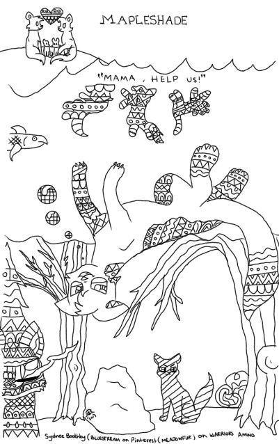 warrior cats coloring pages bluestar energy | Coloring page, mapleshades vengeance! So fun to make ...