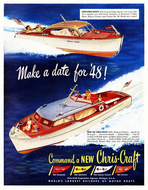 Chris-Craft Boats Ad, 1948 - Chris-Craft was headquartered and had a manufacturing facility in Algonac, Michigan