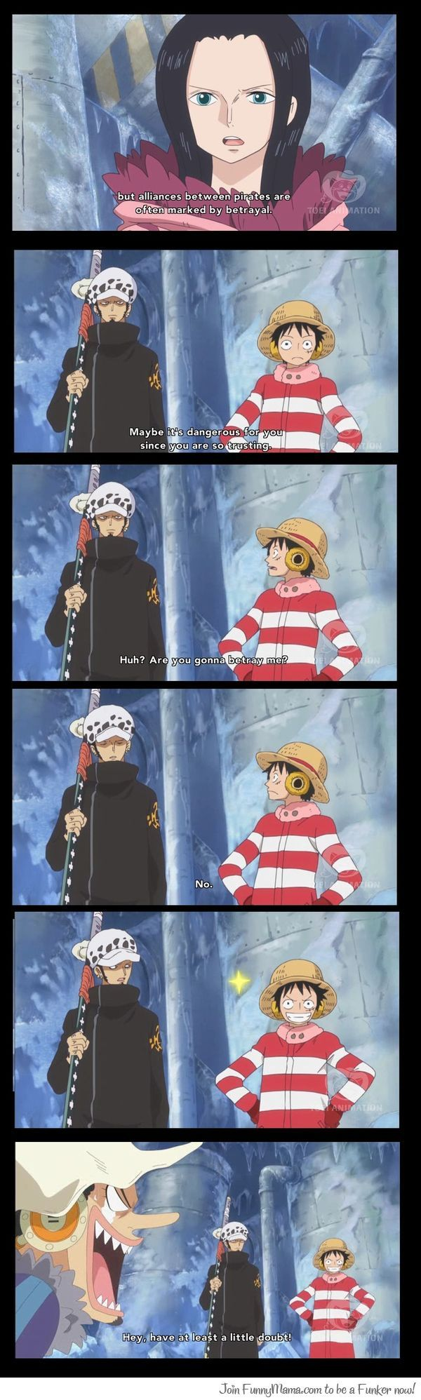 Luffy was probably the little kid who always fell 4 the kidnapper's 'help me find my lost puppy' routine