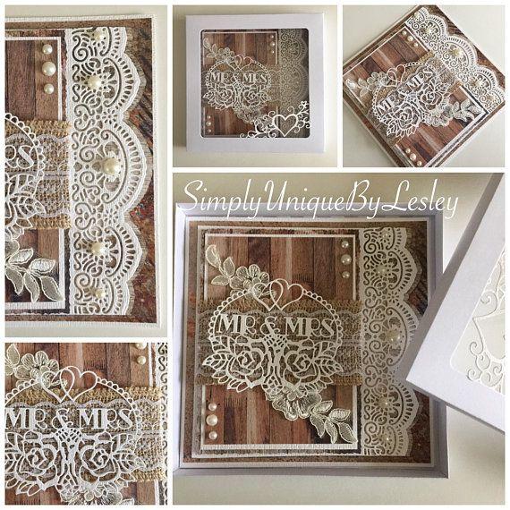 Rustic Wedding Card Handmade Mr and Mrs wedding card