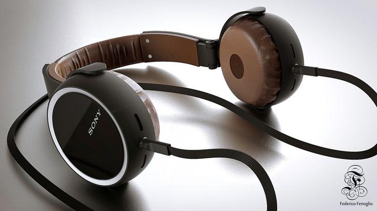 Headphone sony Modelling Rhinoceros 5 render keyshot by Federico Fenoglio