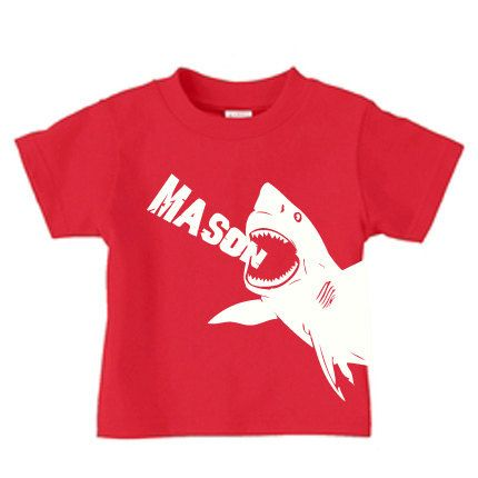 Personalized kids shark t shirt boys shark shirt by PricelessKids