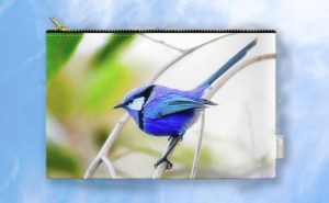 Blue Wren, Bushy Lakes Carry-All Pouch design by Dave Catley featuring a Blue…