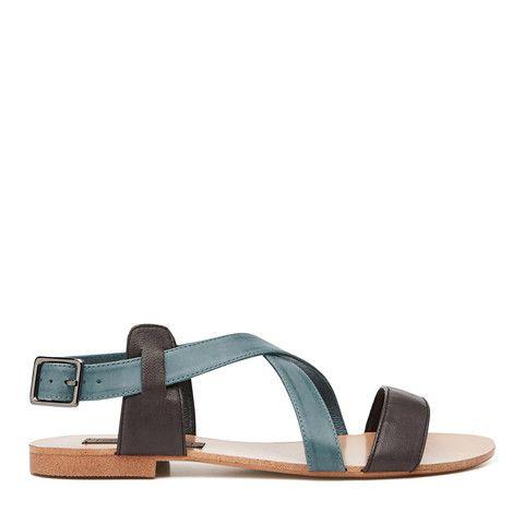 Crossover Sandal - Black/Denim – Harlequin Belle