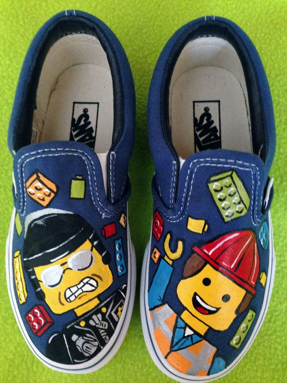 Boy's Custom LEGO MOVIE Inspired VANS Slip On Shoes by paintmama