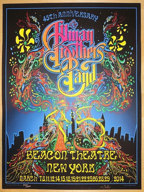 "Allman Brothers Band - silkscreen concert poster (click image for more detail) Artist: Mike Dubois Venue: Beacon Theatre Location: NYC, NY Concert Date: 3/7-29/2014 Size: 18"" x 24"" Edition: 1000; sign"