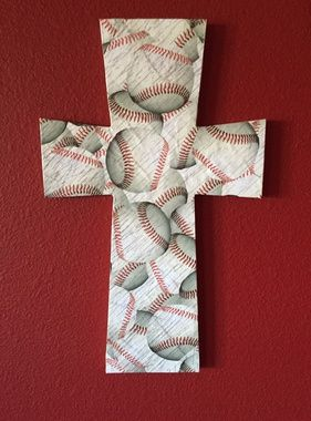 Baseball cross wall decor, great for dorm rooms, boys rooms, and bathrooms. Cross measures 15 inches in length and 9 1/4 inches across. Keyhole opening in back for easy hanging. Makes a great gift!