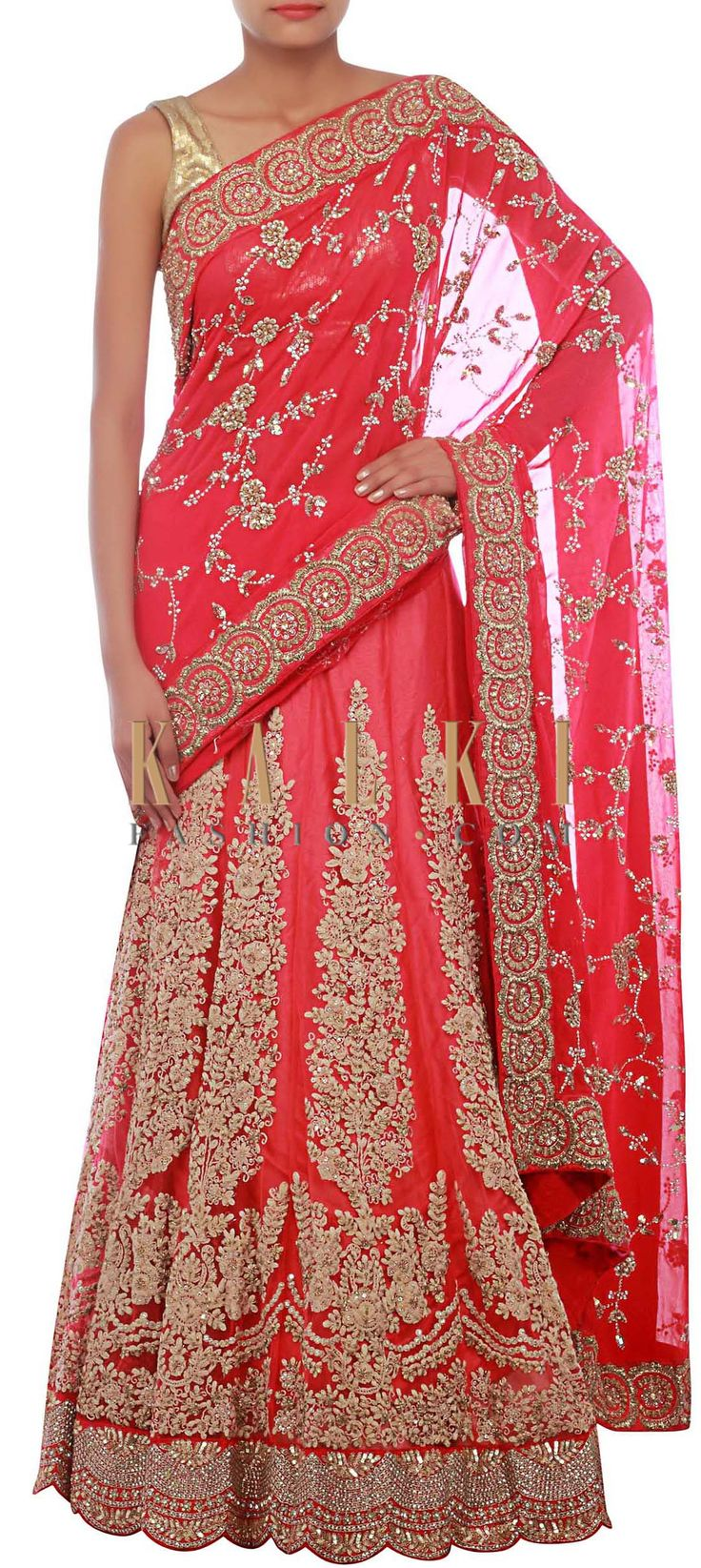 Buy Online from the link below. We ship worldwide (Free Shipping over US$100) http://www.kalkifashion.com/pink-lehenga-saree-embellished-in-zardosi-and-thread-embroidery-only-on-kalki.html