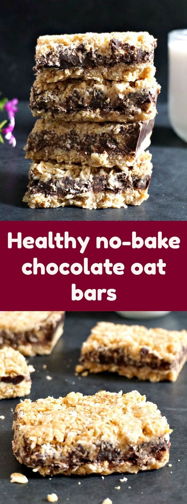Healthy no-bake chocolate oat bars with peanut butter and apple sauce, a quick and guilt-free snack to boost your energy whenever your sweet tooth craves some sugar. Vegan and gluten free, only 4 ingredients is all it takes, and l promise you these cereal bars are way better than any store-bought so-called healthy cereal bars. No need to turn the oven on either, they are ready in no time. #nobakechocolateoatbars, #chocolateoatbars, #energybars , #veganbars, #healthysnacks