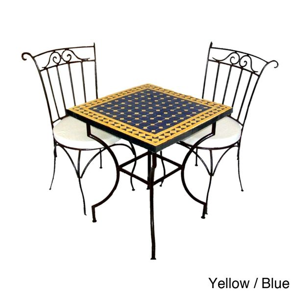 Square Iron 3-piece Mosaic Dining Table Set