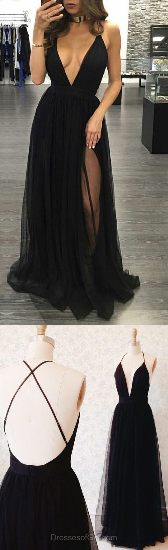 Hot A-line V-neck Tulle Floor-length Split Front Black Backless Prom Dresses