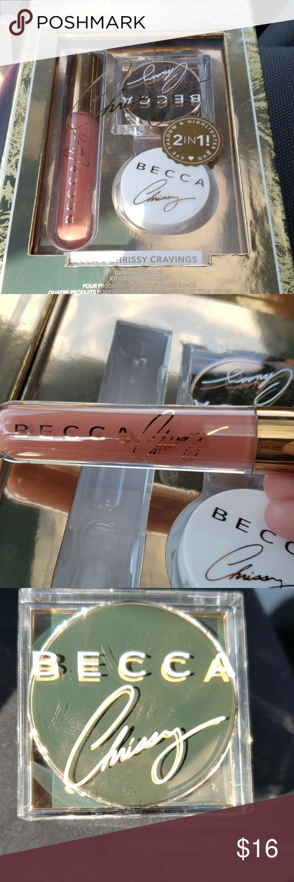 Becca x crissy eyeshadow, highlighter, lip gloss Model new no merchandise ever used…