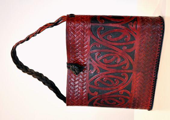 Maori Design Patrick James Kura Gallery New Zealand Design Carved Leather Kowhaiwhai Kete
