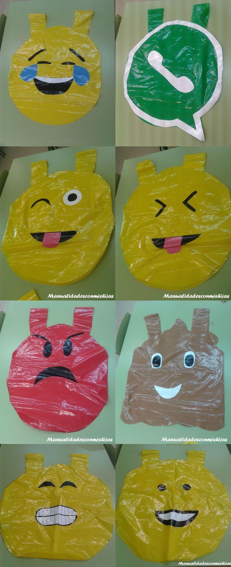 Manualidadesconmishijas: Whatsapp también en carnaval: Disfraces de emoticonos con bolsas de plastico. Customes