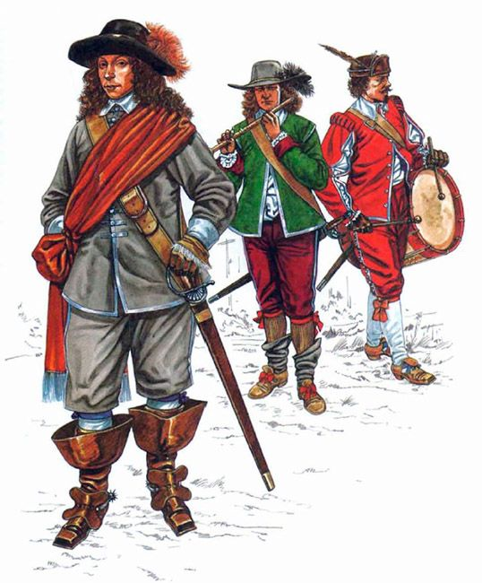 """The English Civil War 1642-1651: • Officer, Parliamentary greycoat regt. • Fifer, Parliamentary foot • Drummer, Parliamentary foot"", Jeffrey Burn"