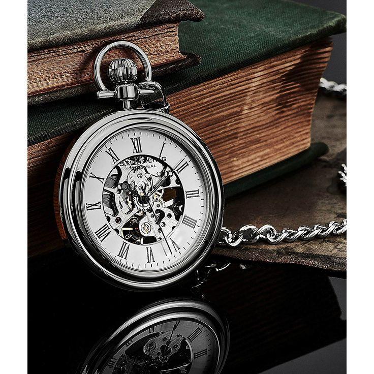#Stührling #Original Taschenuhr in #Silber aus 316L-Edelstahl mit Automatikuhrwerk