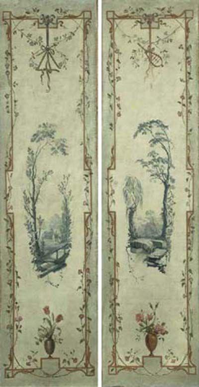 Italian Arabesque painted wall panels 18th century. Piedmontese School. Christies