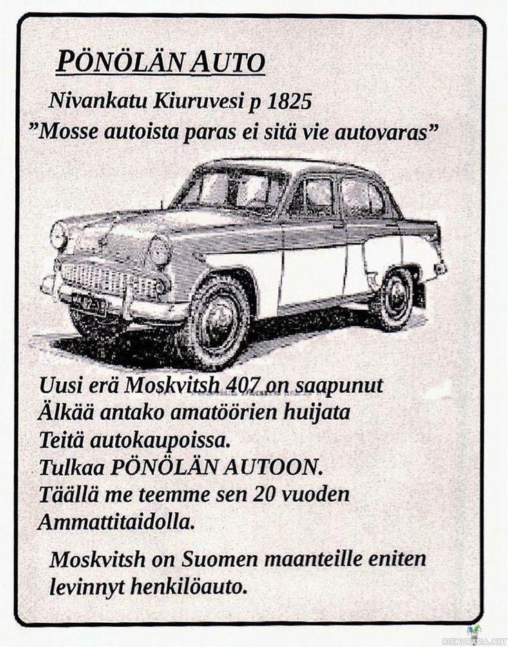 Moskvitsh -Suomen teille eniten levinnyt auto