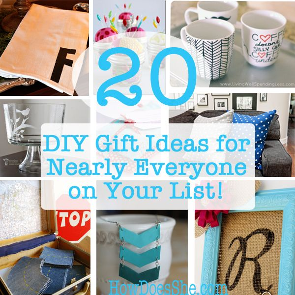 20 DIY Gift Ideas for Nearly Everyone on your List! #howdoesshe #giftgiving howdoesshe.com