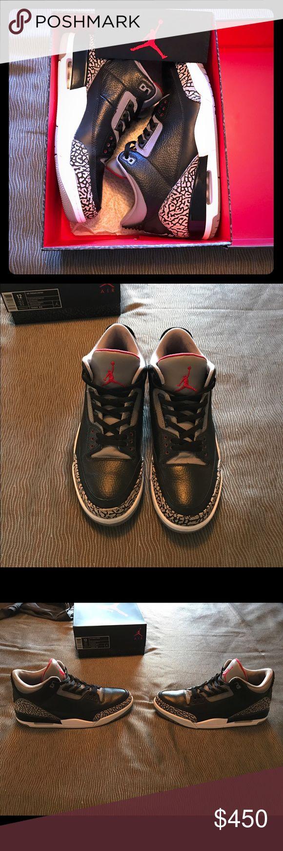 Air Jordan Retro Cement 3's New, barely worn Jordan cement 3's. Still in perfect condition Jordan Shoes Sneakers