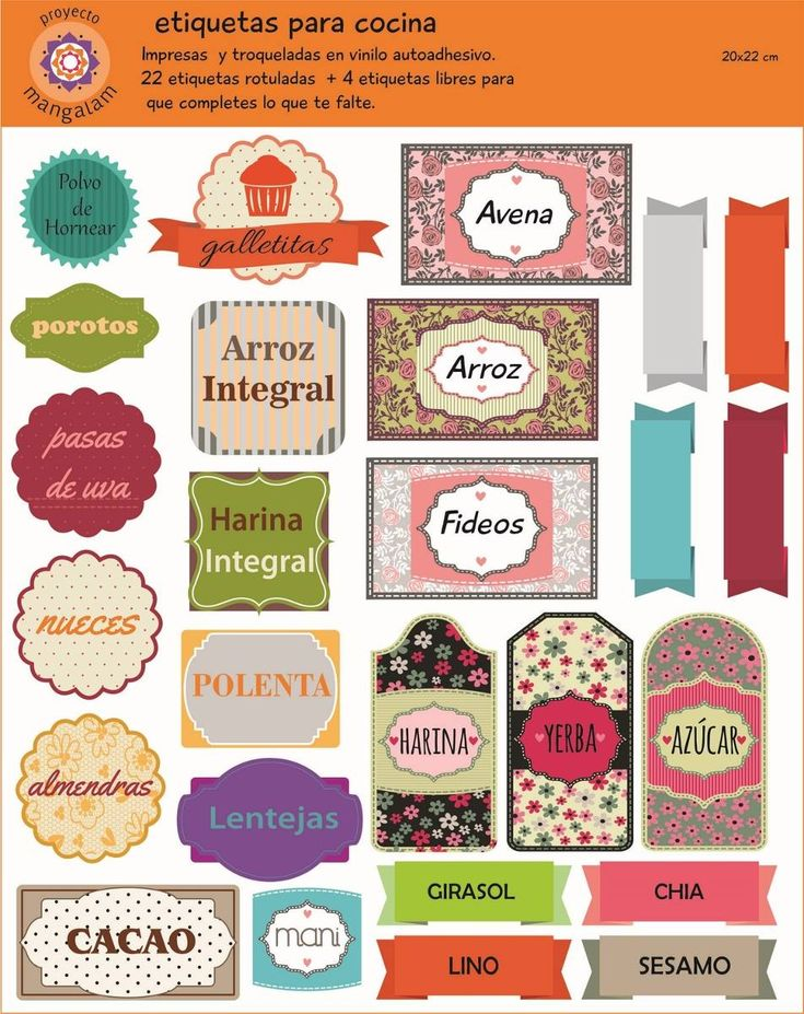 etiquetas para condimentos de cocina - Buscar con Google                                                                                                                                                     Más