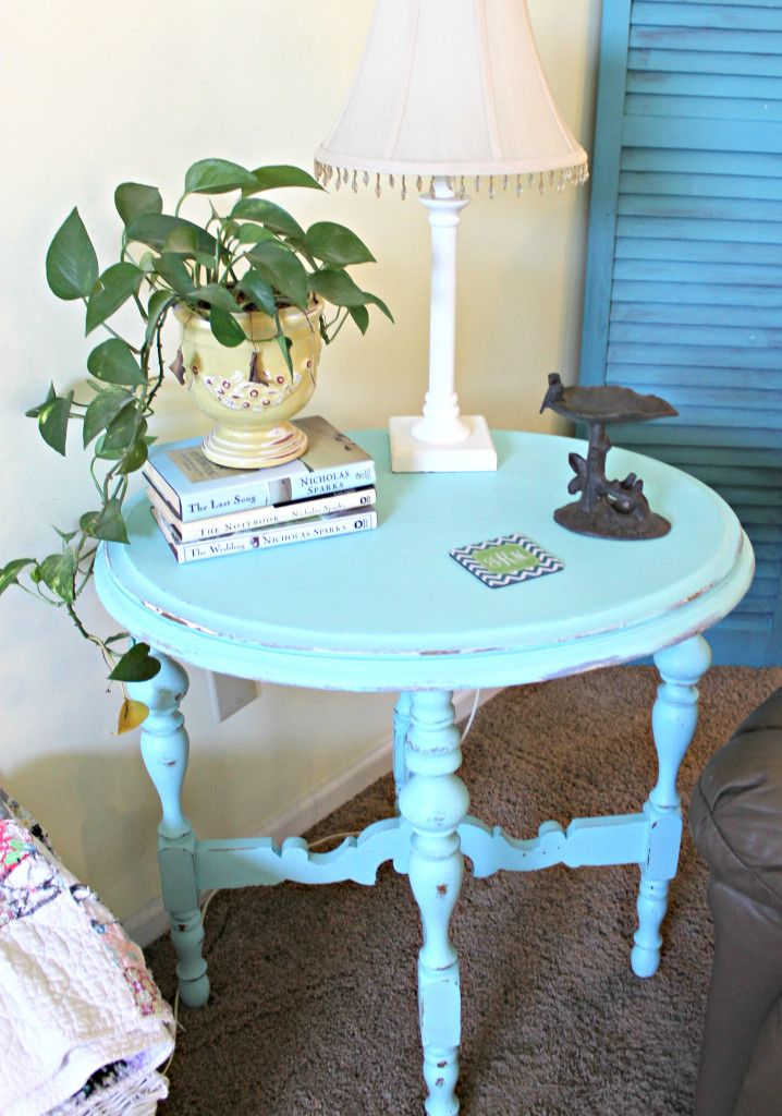 Aqua Painted Side Table - Mom 4 Real