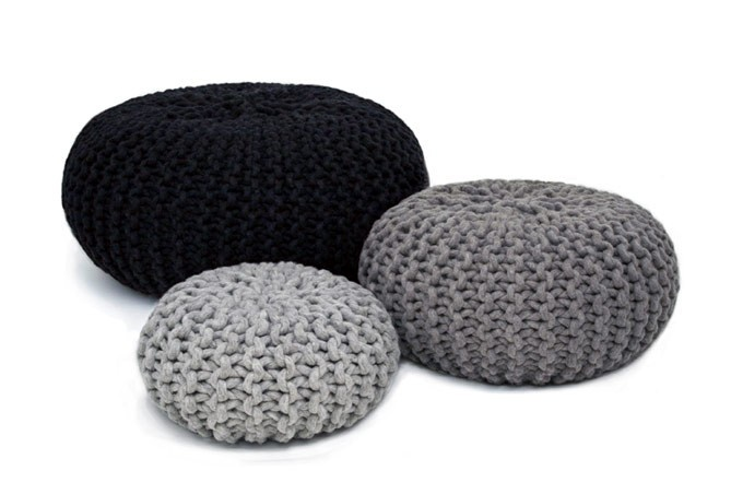 Via Nordic Interior | Black and Grey | Knitted Pouf