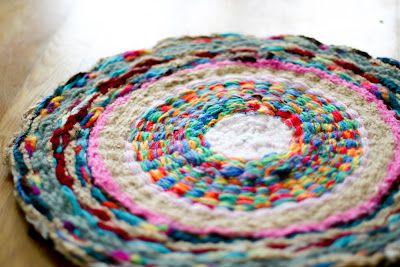 Woven Finger-Knitting Hula-Hoop Rug (for Catie's giant ball of finger knitting)