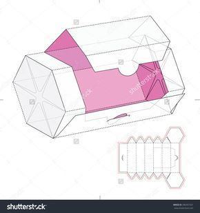Hexagonal Dispenser Box With Die Cut Template Stock Vector Illustration 346357331 : Shutterstock