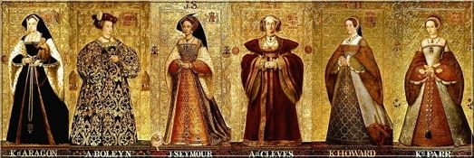 "The six wives of King Henry VIII;  Katherine of Aargon,Lady Anne Boleyn,Lady Jane Seymour,Lady Ann of Cleves,Katherine Howard, & Lady Catherine Parr. British school children memorize thier order & fate with a ryhme;  ""Divorced,beheaded,died,divorced,  beheaded,survived"".  Author Alison Weir writes wonderful non fiction studies of them. Lately there was a surge of interest in them after the release of the film ""The Other Boleyn Girl""."