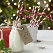 Paper Straws with Flags - Christmas Cheer