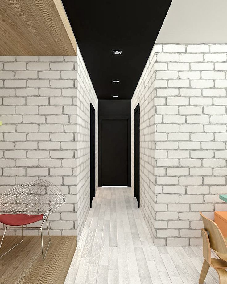 White brick and black walkway  www.bycarvedesign.com