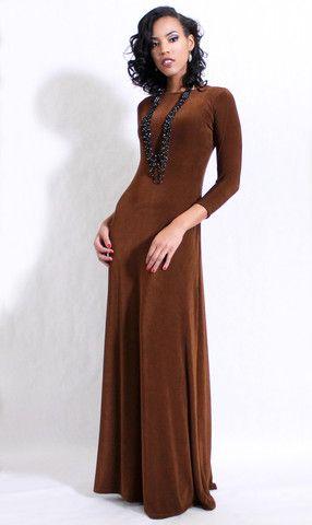 Norah Brown Maxi Dress - DIMILOC #maxidress #maxi #modestfashion #chocolate #brown #fallfashion #winterfashion #churchfashion