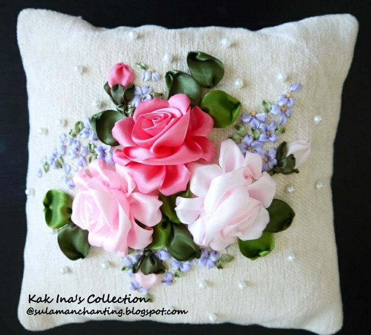 Ribbon embroidery pillow designs pinterest