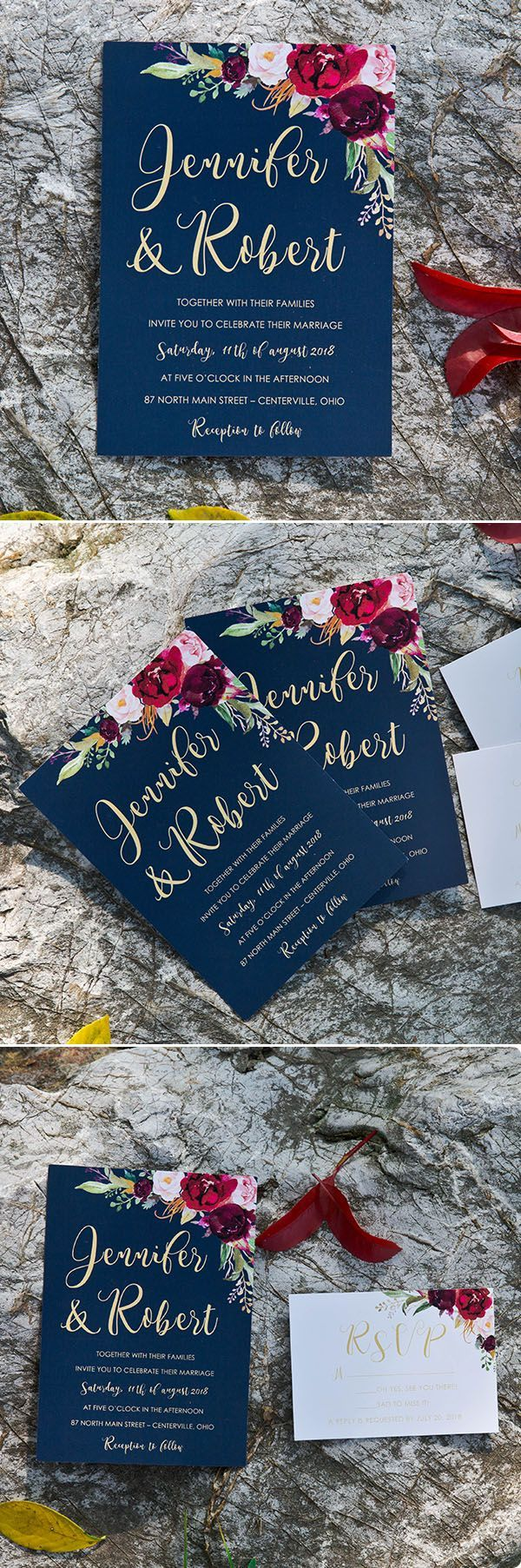 boho navy blue and burgundy floral watercolor
