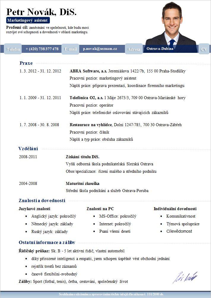 Životopis vzor 2015 vhodný i pro absolventy. Více informací http://www.pro-cv.cz/produkt/vzor-zivotopisu-muz/