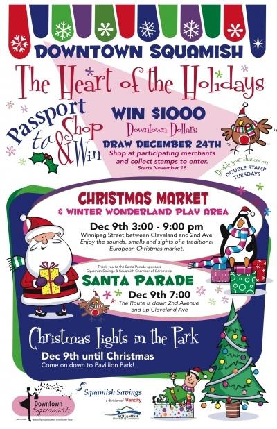 Christmas Market and Santa Parade December 9th Downtown Squamish