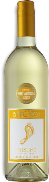 BAREFOOT Riesling -Hits all the right fruit-filled notes with perfect pitch. A delicate orange blossom aroma bounces off juicy apple and tangy lemon flavors for a slightly sweet finale.