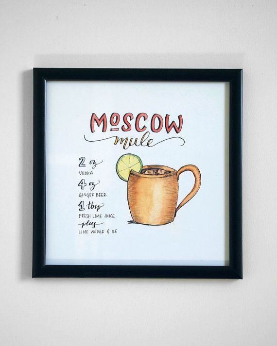 Moscow Mule Cocktail Recipe Print of Original by JoanneShih
