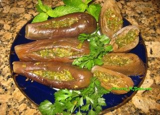 """Stuffed and Pickled Eggplants.- The word """"turshu"""" came into Azerbaijani language from the Persian word """"torsh"""", which means """"sour"""". Turshu usually served with a meal as one of appetizers, and some lunch or dinner meals can't be completed without it."""
