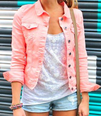 : Coral Jeans, Jeans Jackets, Style, Color Denim, Tanks Tops, Denim Jackets, Pink Jackets, Color Jeans, Neon Color