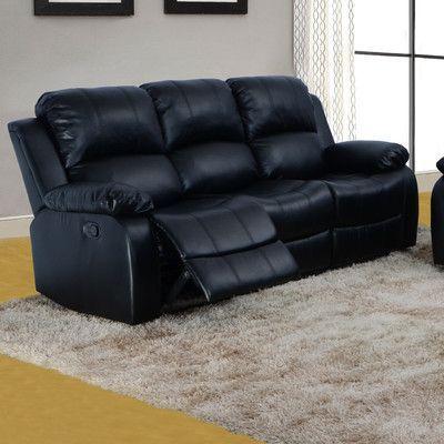 Beverly Fine Furniture Denver Reclining Sofa Upholstery: Black
