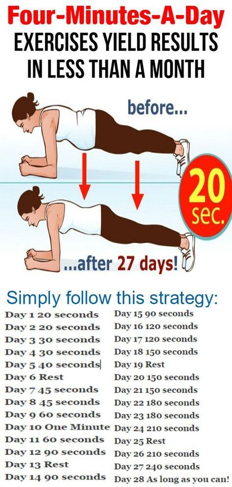 Four-Minutes-A-Day Exercises Yield Results In Less Than A Month - Healthy Tips World Want to change your body in just four minutes? You probably believe it sounds too great to be real. Nevertheless, if you find the strength to do plank every day, you ll get a terrific body, plus a considerable boost in endurance and energy. Although the slab doesn t provide immediate outcomes, its sluggish speed … http://snip.ly/2fcwx