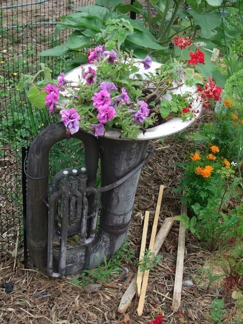 Tuba in the garden. @Jamie O'Rorke, we could make you a musical garden!